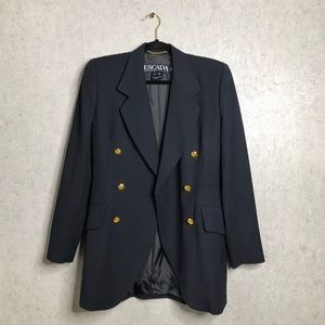 Escada | Navy Blue Wool Double Breasted Blazer